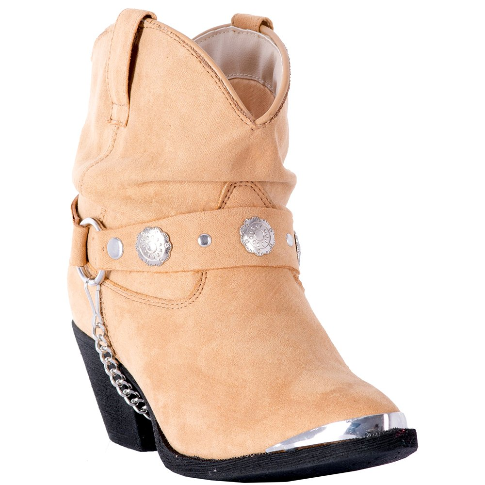 Dingo Women's Leather Concho Strap Slouch Ankle Boot Pointed Toe - Di8940 B078H1FFP3 9.5 B(M) US|Tan