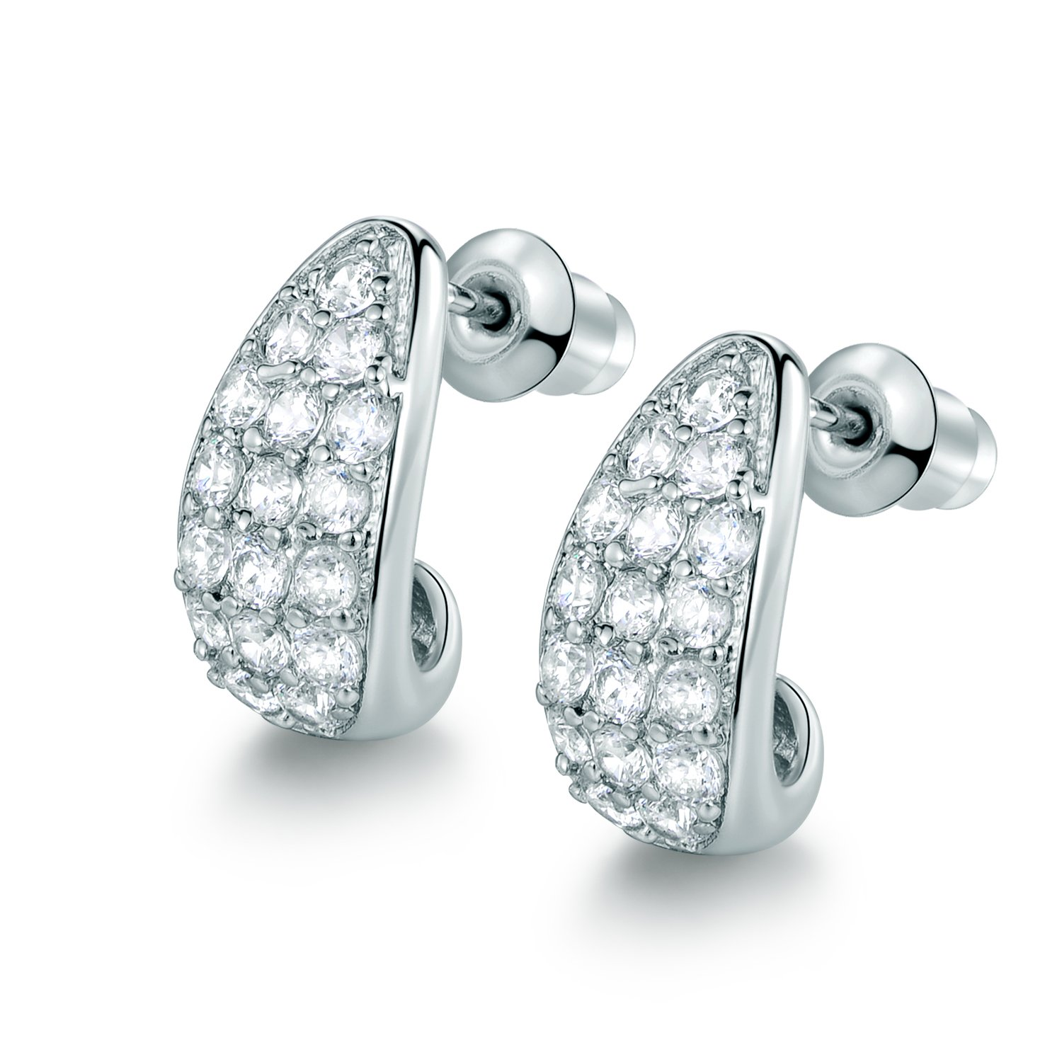 MASOP White Gold Plated Bending Stud Hoop Earrings With Clear Cubic
