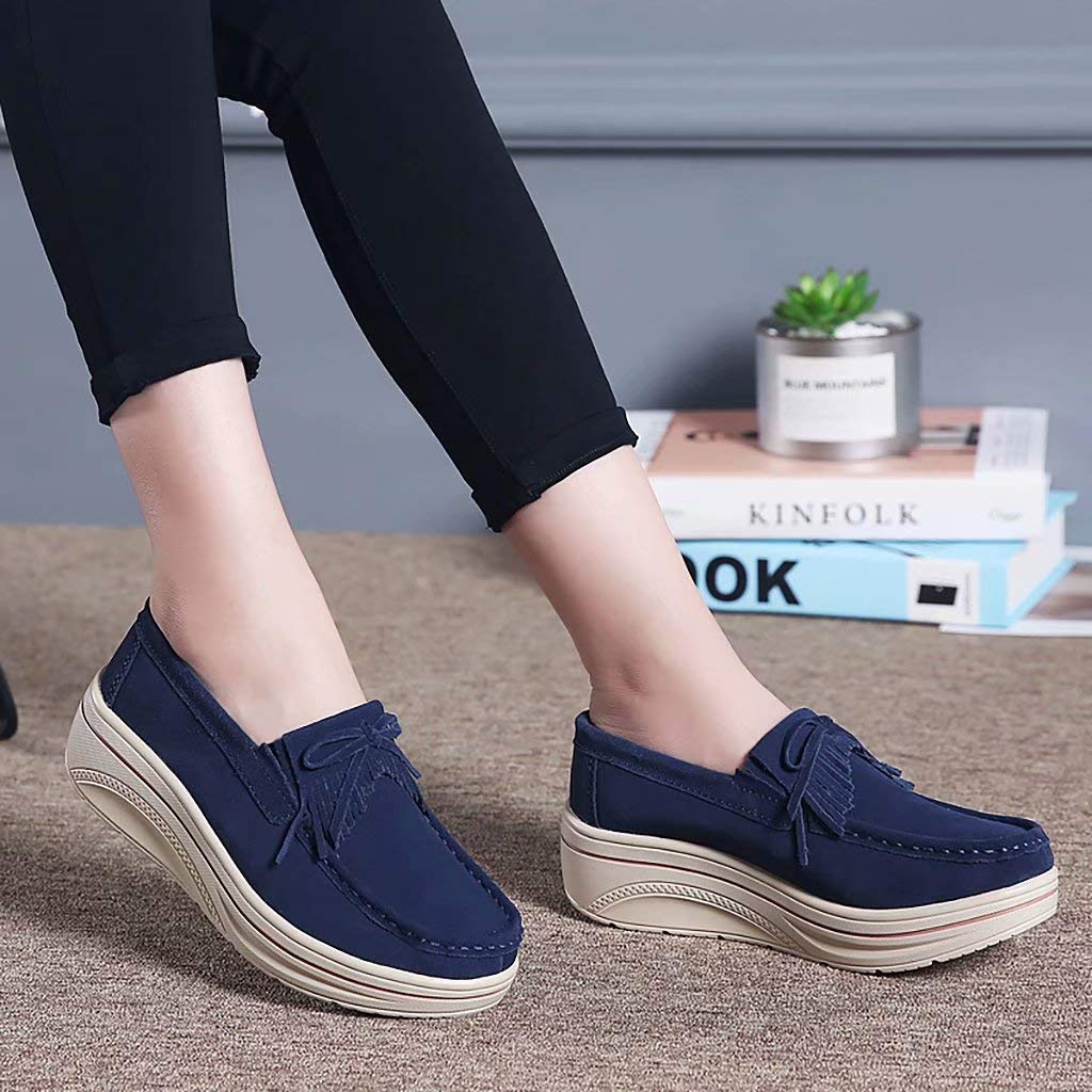 ENLEN/&BENNA Womens Wedges Platform Sneakers Casual Slip On Shoes Fashion Suede Moccasins Comfort Loafers