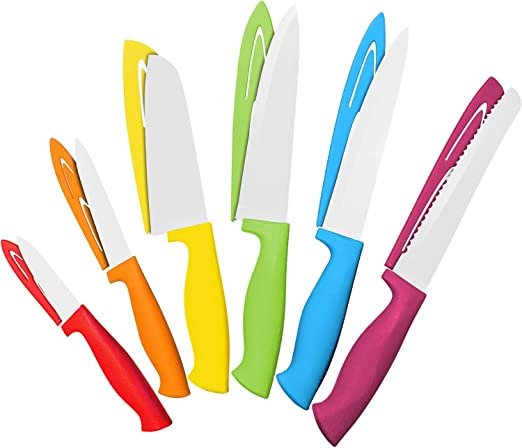 Amazon.com: Juego de 12 cuchillos de acero de color – 6 ...