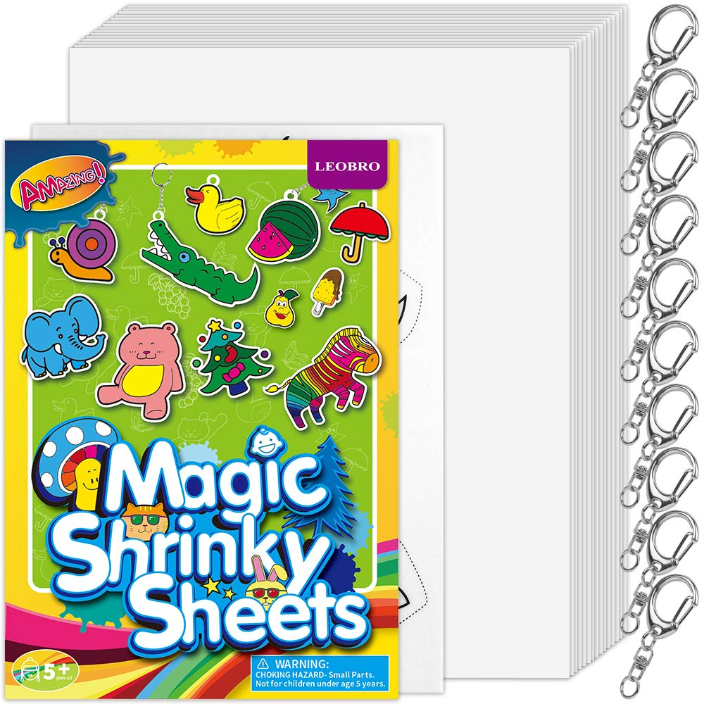 LEOBRO 16 PCS Large Shrink Films, 15 Blank Shrink Plastic Sheets, 1 Pictured Shrink Art Paper, with 10 Metal Key Rings & 1 Instruction Leaflet, for Making Keychains, Jewelry, Christmas Ornaments