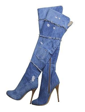 AIWEIYi Womens Denim Skin High Heel Knee High Boots Thigh High Boots