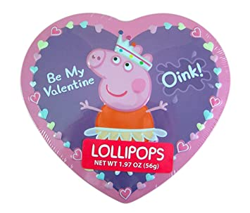 Peppa Pig Valentines Day Heart Tin With Lollipops, 1.97 Oz