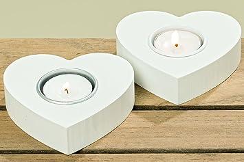 2 Stk Teelichthalter Holz Weiss Herz Form Hochzeitsdeko Windlicht