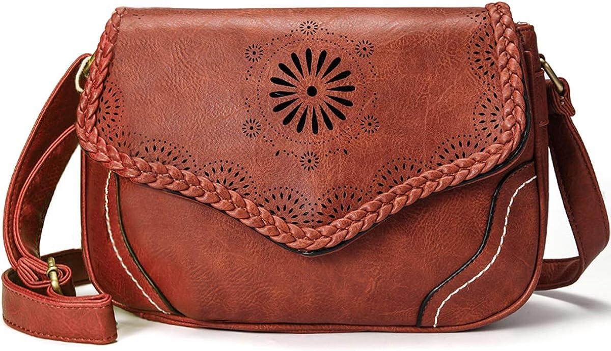 Women/'s Brown PU Leather Shoulder Tote Handbag Purse Satchel Crossbody Purse Bag