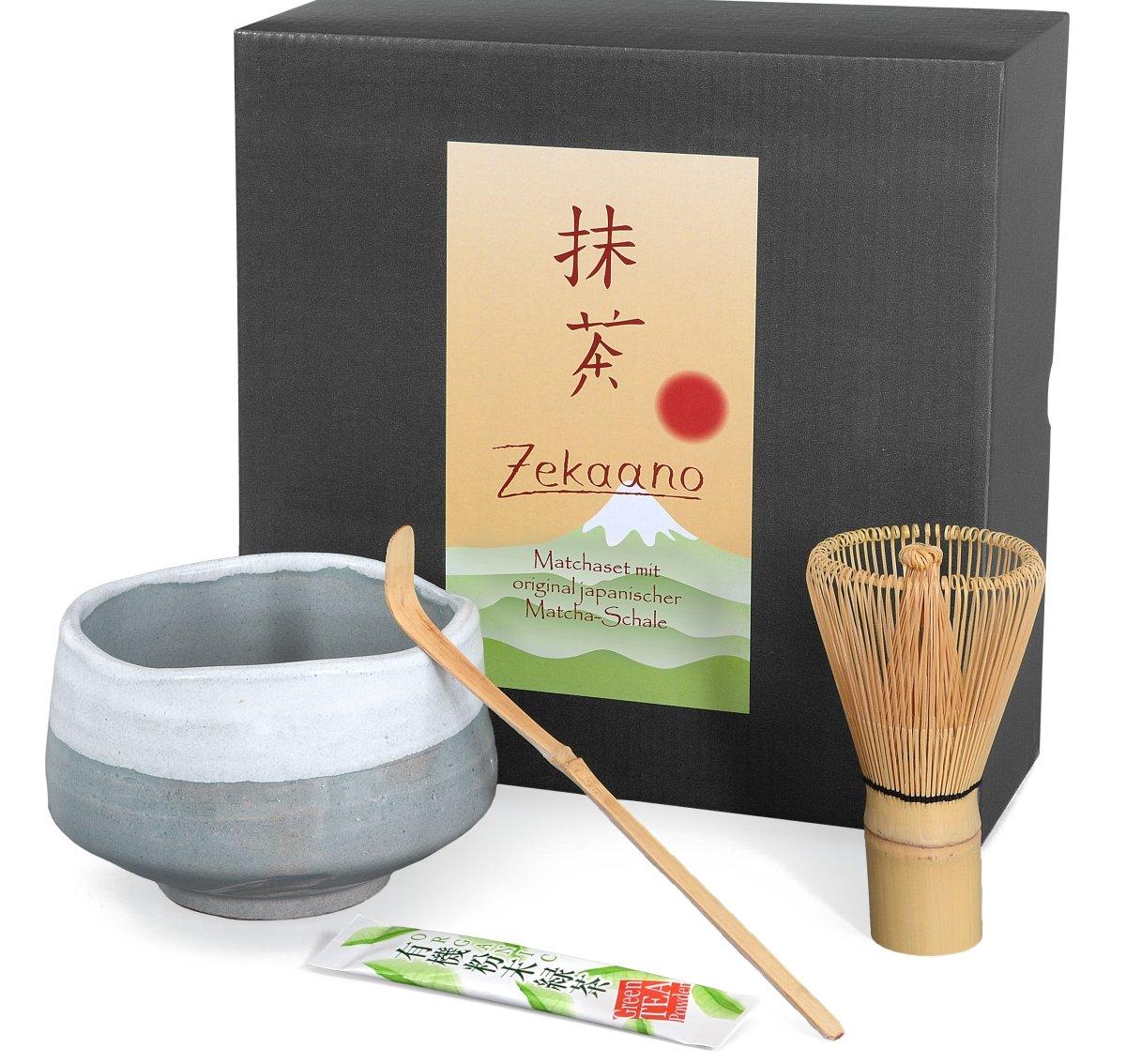 Aricola® 3 piece matcha set, consisting of handmade Japanese matcha bowl, 500 ml, Matcha bamboo spoon, Matcha bamboo whisk