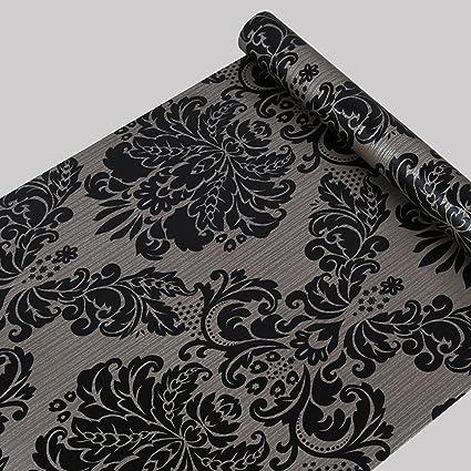 Papel pintado autoadhesivo con diseño de damasco en color negro. Apto para casi todo tipo