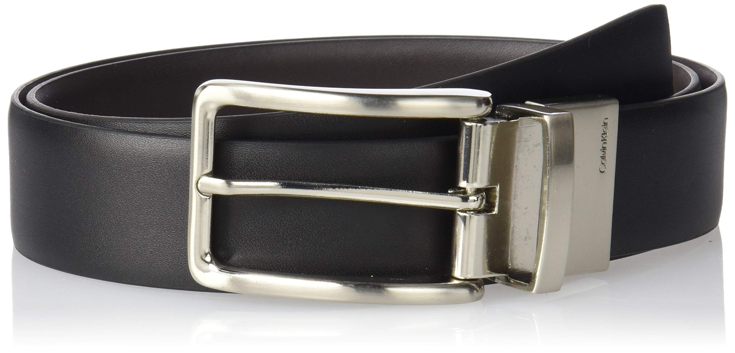 Calvin Klein Men's Reversible Feather Edge Strap Belt, Black/Brown, 40 US by Calvin Klein