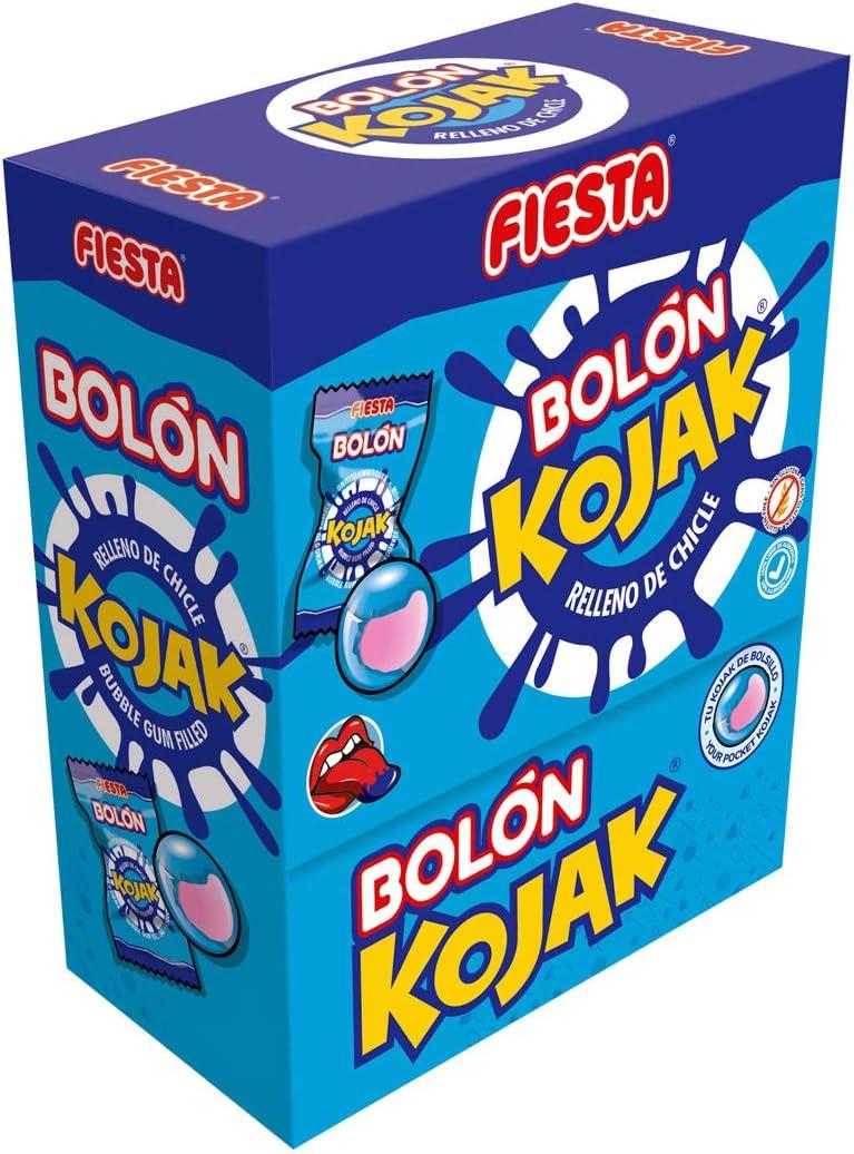 FIESTA Bolón Kojak Pintalenguas Caramelo Duro Sabor Mora Relleno de Chicle - Caja de 150 unidades: Amazon.es: Alimentación y bebidas