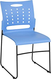 Flash Furniture HERCULES Series 881 lb. Capacity Blue Sled Base Stack Chair with Air-Vent Back