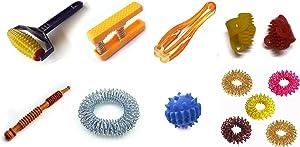 ACS/ACM Acupressure Health 8 in 1 Kit Body Roller, Palm Exerciser, Finger Massager, Sujok Rings, Spring, Ball, Thumb Pad, Bracelet Acupressure (8 in 1) Health Kit Plastic, Metal