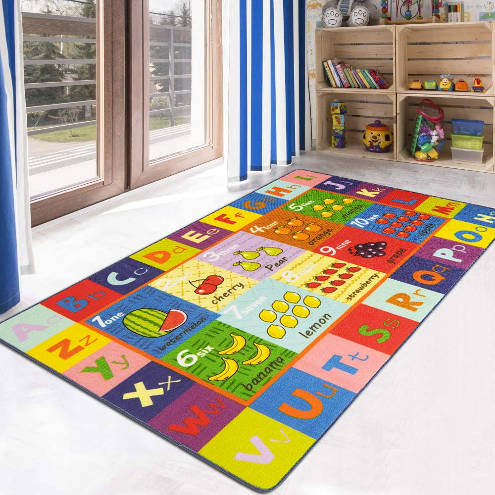 HEBE Kids Rugs Educational Learning Area Rug Carpet for Kids Children Anti Skid Backing Daycare Rug Washable Children Play Mat for Nursery Classroom Kidsroom 3'4
