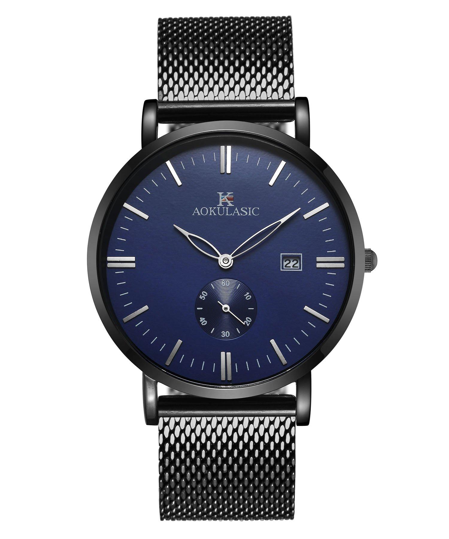 AOKULASIC Mens Fashion Fecha Analógica Cuarzo Resistente al Agua muñeca Reloj con Especial Segunda Sub Dial. (Azul Negro)
