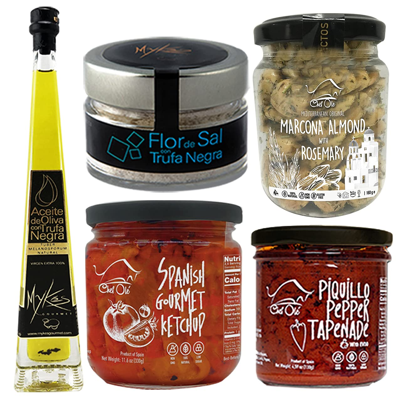 Dali Gourmet Food Gift Box- Chef Ole - IMPORTED FROM SPAIN- GOURMET FOOD GIFT BASKET – 5 PREMIUM PRODUCTS- GOURMET SALT, CARAMELIZED ONIONS JAM, XTRA BIG FILLED OLIVE, ARTISAN OLIVE OIL & AGED VINEGAR