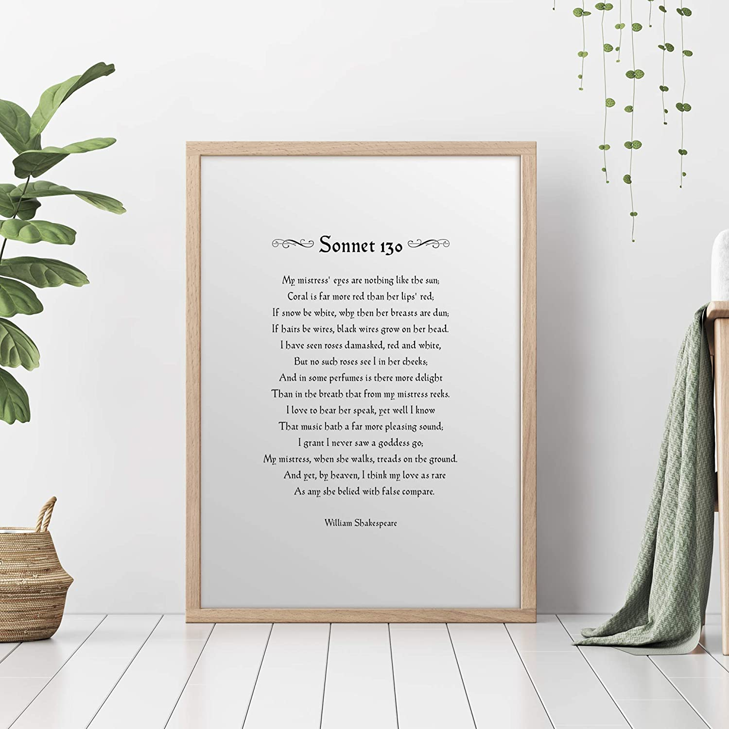 My mistress/' eyes are nothing like the sun Unframed Print Shakespeare Sonnet 130 Romantic Poetry