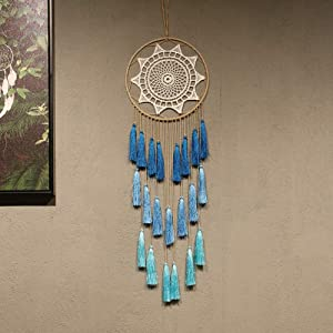Artilady Macrame Dream Catchers for Bedroom - Tassel Wall Hanging Handmade Dreamcatchers Home Decor with Tassel Feather Ornament Craft Blessing Gift (Blue)
