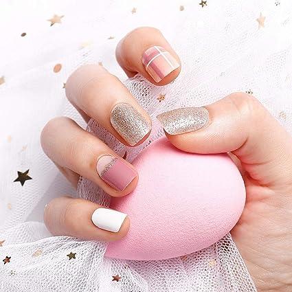 YuNail - 24 uñas postizas con pegamento, color dorado, blanco y ...