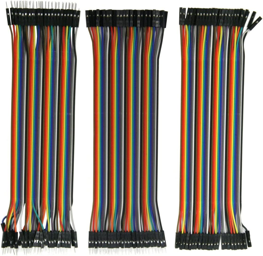 10 Rainbow Colors 20cm ZipWire Kit Female-to-Female 3 Unzippable Ribbon Cables KIT-ZW-20x3 40-Wires Each 28AWG Strip Wire Male-to-Male Male-to-Female