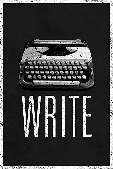 Write retro manual typewriter black and white art print poster 12x18 inch