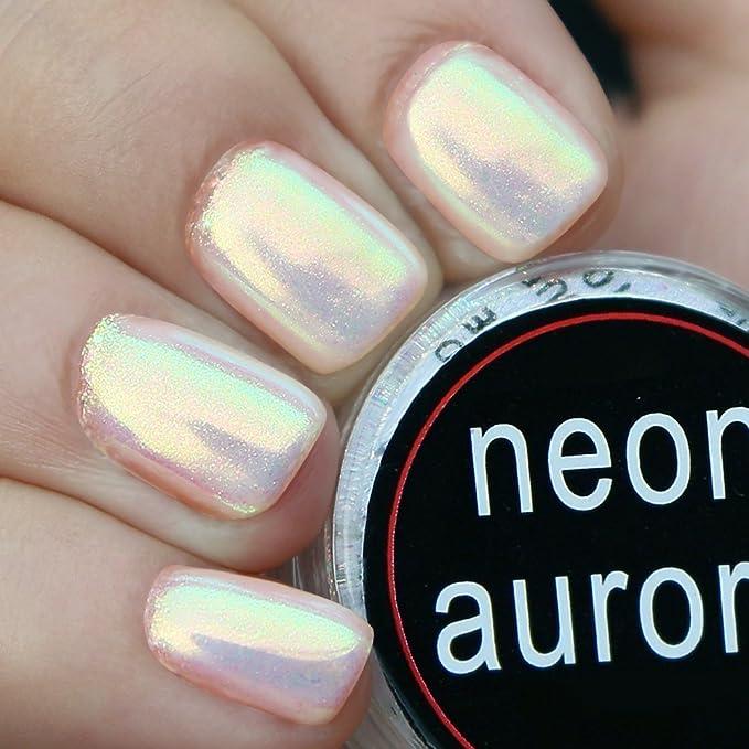 USHION Aurora Neon Nail Chrome Pigment Powder Glitter Luminous ...