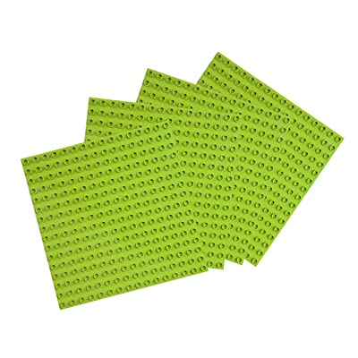 BOROLA Peel-and-Stick Large Blocks Base Block Plates Compatible with Most Major Brands Duplo | Large Pegs for Toddlers | 10 in. x 10 in. (4 Pack, Light Green): Toys & Games