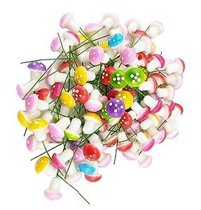 yueton Pack of 100 Mini Foam Mushroom for Garden Ornament Flower Pots Bonsai Micro Landscape Decor (Assorted color)