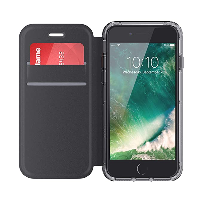 more photos a4b1f fb68a Griffin Survivor Clear Wallet iPhone 6/6s/7/8 Case with Credit Card Folio  and Non-Yellowing Back Shell - Black/Clear
