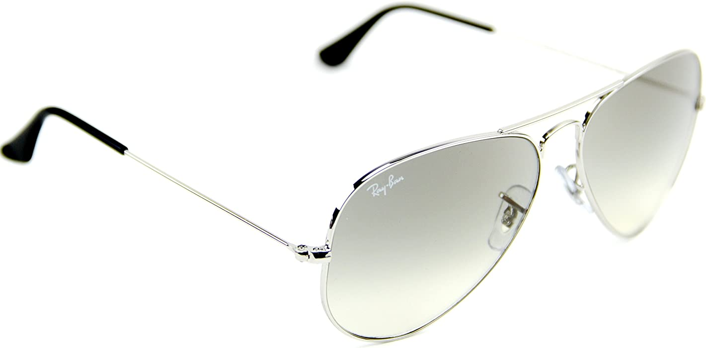 9970328c4e RB3025 003 32 55mm Aviator Silver Frame   Light Gray Gradient Lenses Made  In Italy Sunglasses