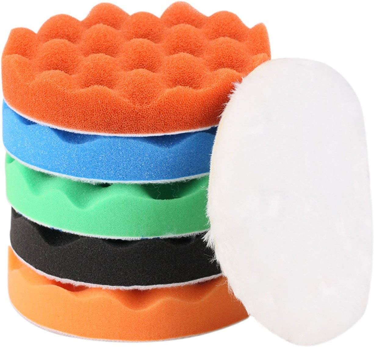 "ZFE 6Pcs 6""(150mm) Waffle Foam Buffing Pads Polishing Pads Wool Pad Kit for Car Polisher Detail Polishing"