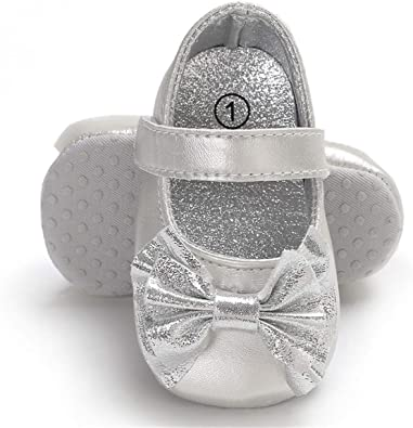 Infant Baby Girls Mary Jane Flats Cute Bowknot Anti-Slip Soft Sole Toddler First Walkers Princess Dress Shoes