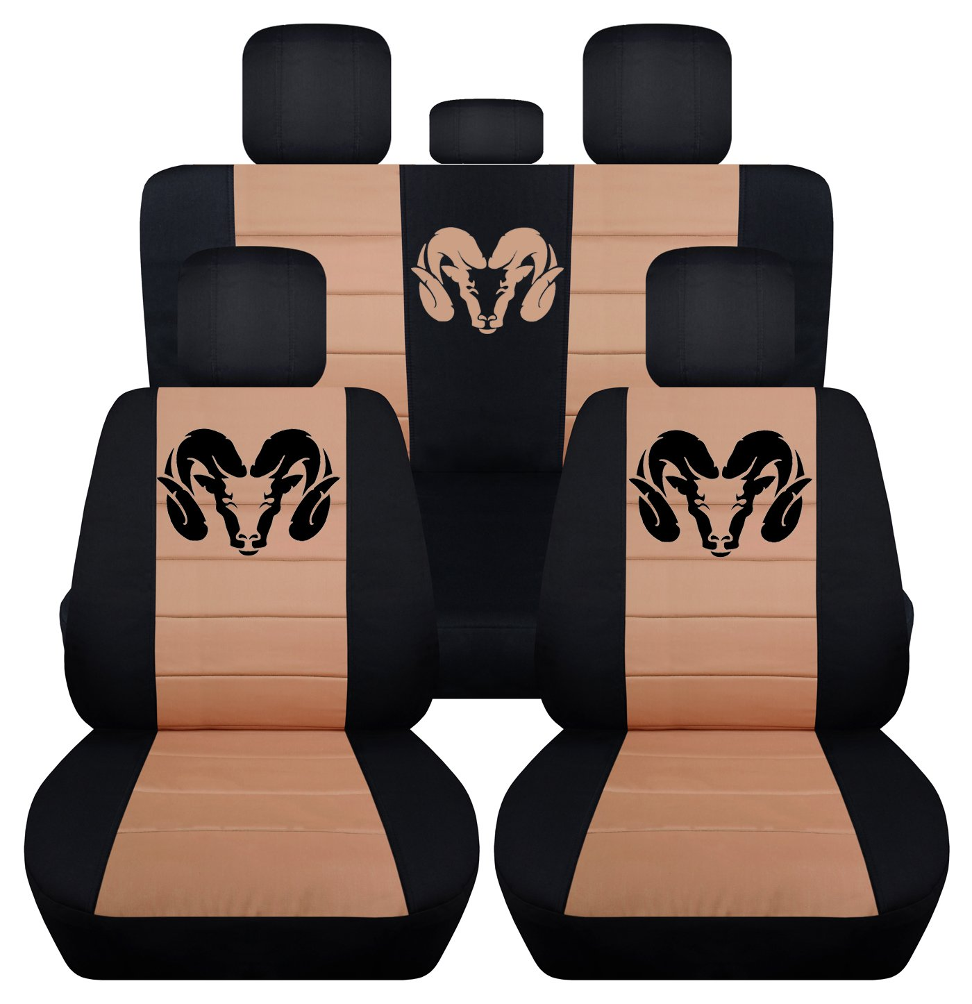 40-60 Rear with Armest, Black Sand Fits 2012 to 2018 Dodge Ram Front and Rear Ram Seat Covers 22 Color Options