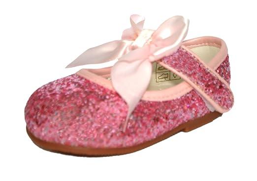 15168666197f8 Amazon.com: Girls Bridesmaids Bow Ribbon Glitter Party Shoes Shiny ...