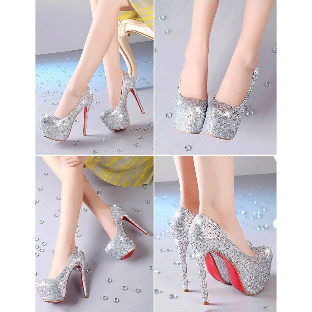 Sandalen Feifei Damenschuhe Hohe Qualität Silber Material Strass High Heels Silber Qualität Mode Nachtclub Bühne Schuhe (mit Hoch: 14,5 cm) (Größe : EU39/UK6/CN39) - f8518b