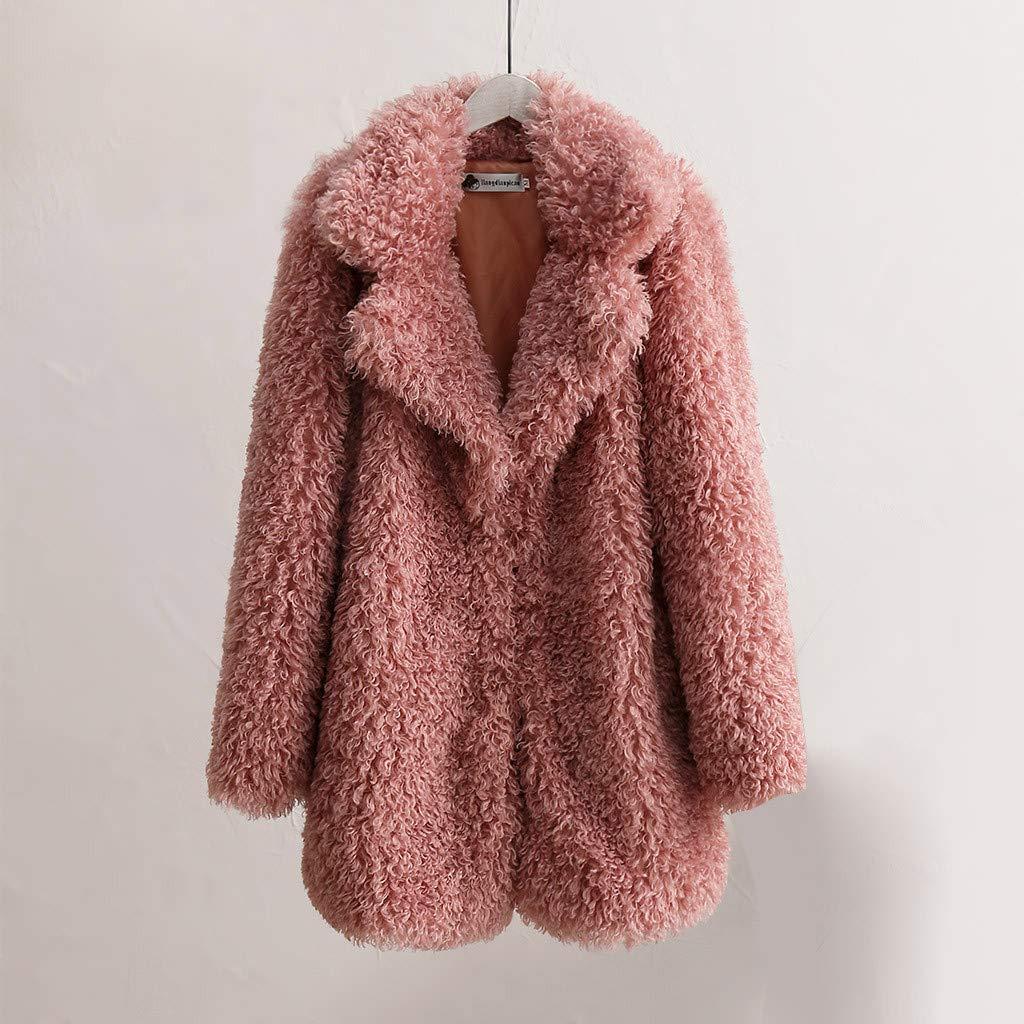 Womens Faux Fur Coat Sharpe Fleece Shearling Shaggy Jacket Lapel Oversized Cardigan Winter Warm Fluffy Plush Overcoat