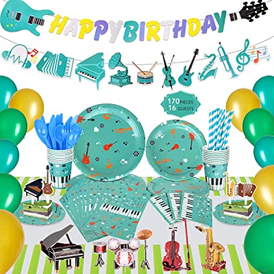 Music Party Decorations for Kids, 170 Pcs Musical Instrument themed Birthday Party Supplies, Bass Guitar Happy Birthday Banner, Party Balloons, Invitation Envelopes: Toys & Games