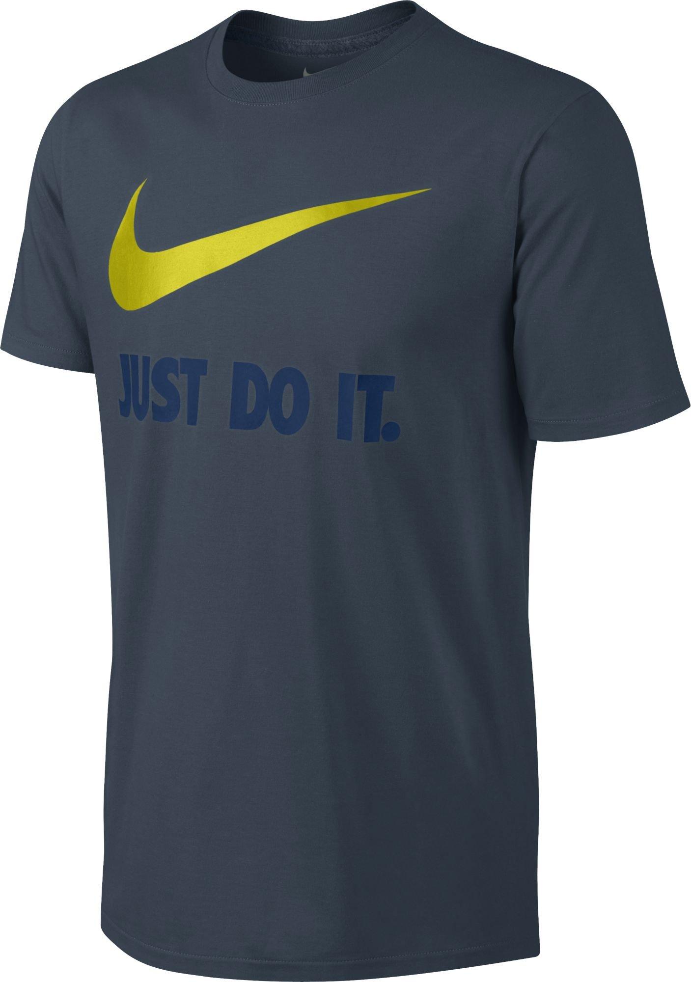 Nike Men's Sportswear Just Do It Swoosh Tee 707360-464 (Industrial Blue/Volt/Dark Obsidian, Small)