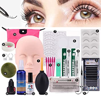 0f066caf77b Pro 19pcs False Eyelashes Extension Practice Exercise Set, Professional  Head Model Lip Makeup Eyelash Grafting