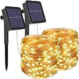 [2 Pack] Guirnaldas Luces Exterior Solar, Litogo Luces Led Solares Exteriores Jardin 12m 120 LED 8 Modos Cadena de Luces…