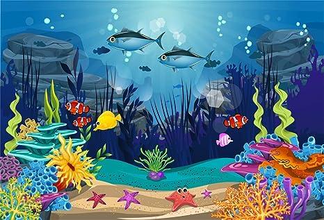 Mmptn 7x5ft Polyeste Underwater Cute Shark Toile Fond Dessin Colore Poissons Fonds Marins Fond Roches Corail Pour Bebe Fille Garcon 1er 2e Fete D Anniversaire Baby Shower Photoshoot Photo Studio Amazon Fr Photo