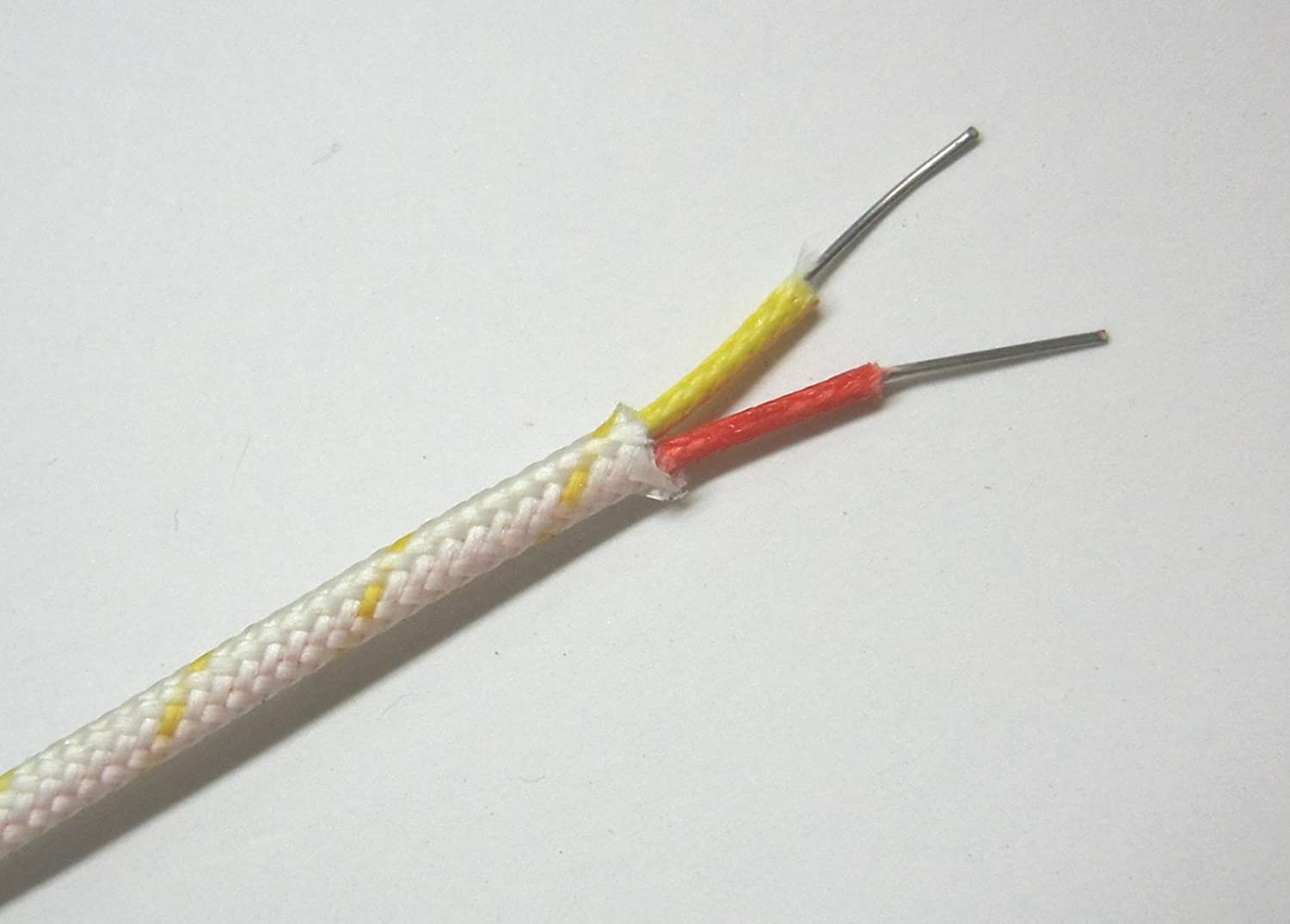 K-type Thermocouple Wire AWG 24 Solid w. High Temperature Fiberglass ...