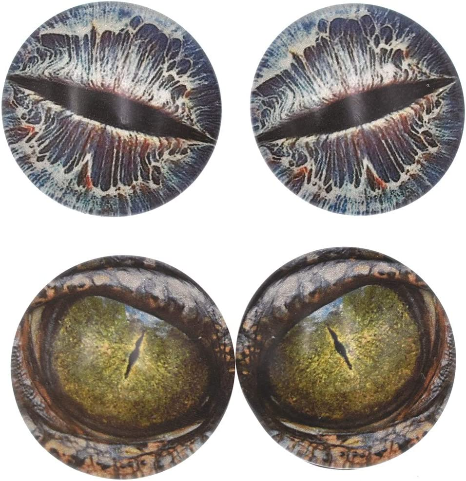 10 Pairs 10mm Glow in the Dark Glass Dinosaur Eyes Round Dome Glass Cabochons Flatback for DIY Craft Clay Animal Lizard Eyes