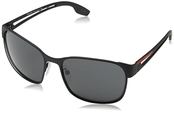 Prada Sport Herren Sonnenbrille 0PS52TS DG05S0, Schwarz (Black Rubber/Grey), 59