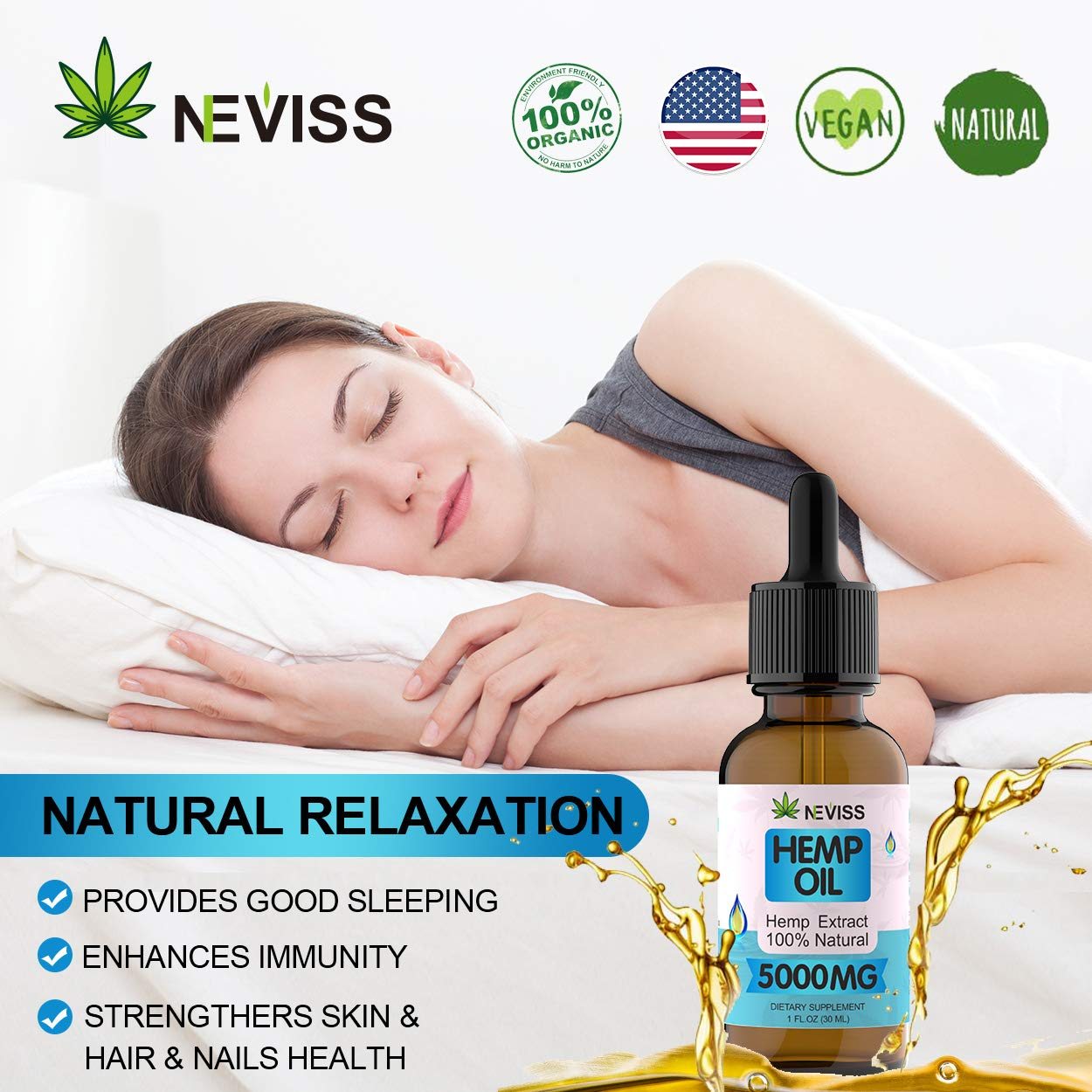 (2 Pack) Organic Hemp Oil Tincture 5000mg for Pain Relief, Stress and Anxiety Relief, Improve Sleep - 100% Natural Hemp Extract, Vegan Hemp Oil Extract- Made in USA