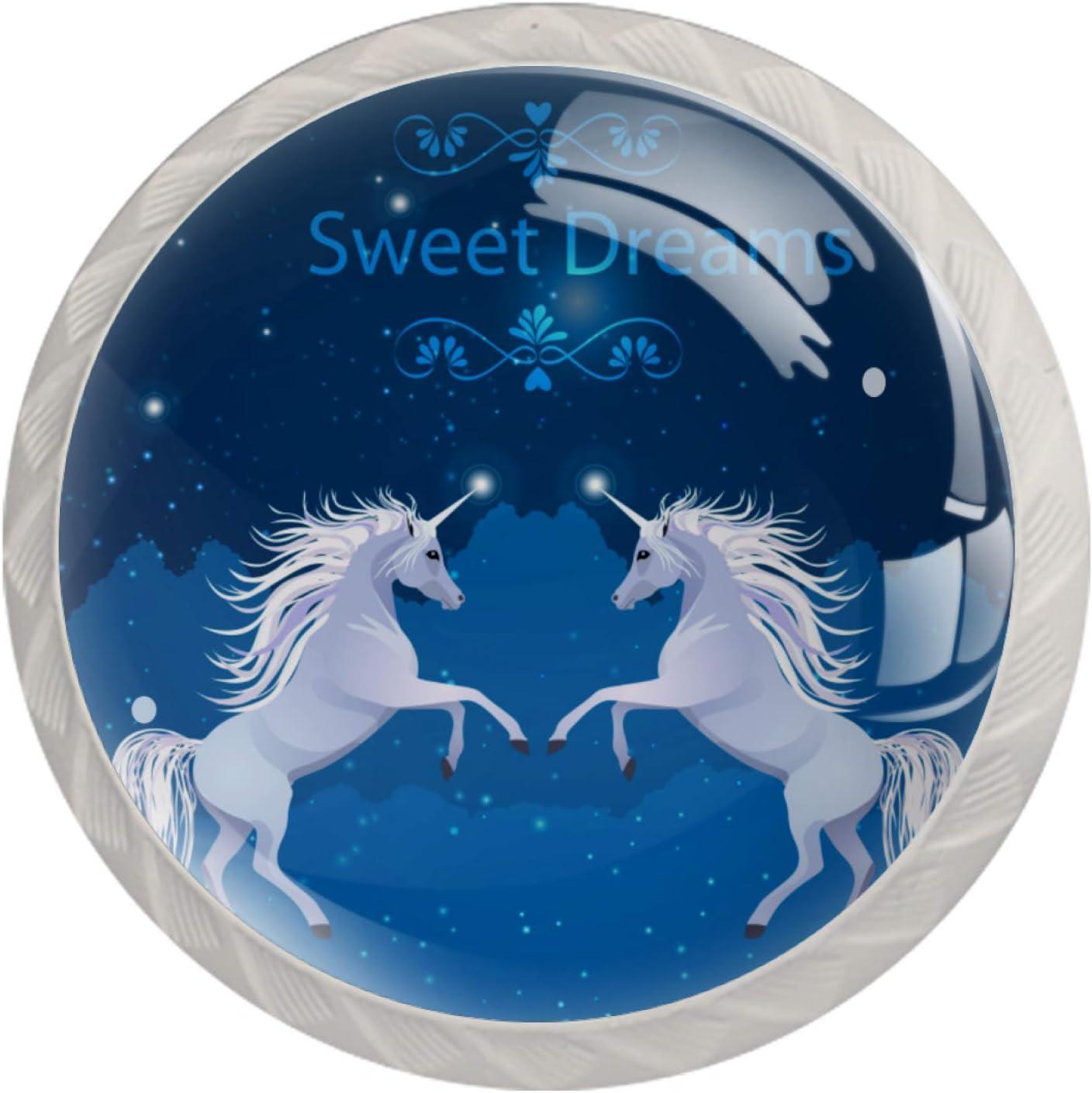 Pack de 4 pomos de cristal para cajones de gaveta, de forma redonda, para armario, cajón, armario, cajón, tiradores de muebles, pomos con tornillos, diseño de caballo de unicornio y galaxia