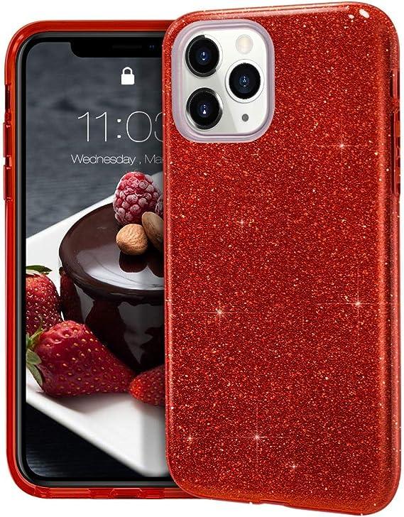 "Image ofCoovertify Funda Purpurina Brillante Red Rose iPhone 11 Pro, Carcasa roja Resistente de Gel Silicona con Brillo Rojo Rosa para Apple iPhone 11 Pro (5,8"")"