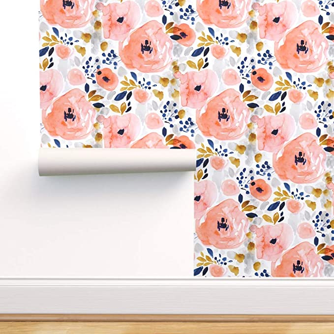 Custom Printed Removable Self Adhesive Wallpaper Roll by Spoonflower Fall Blossoms by Indy Bloom Design Watercolor Floral Wallpaper