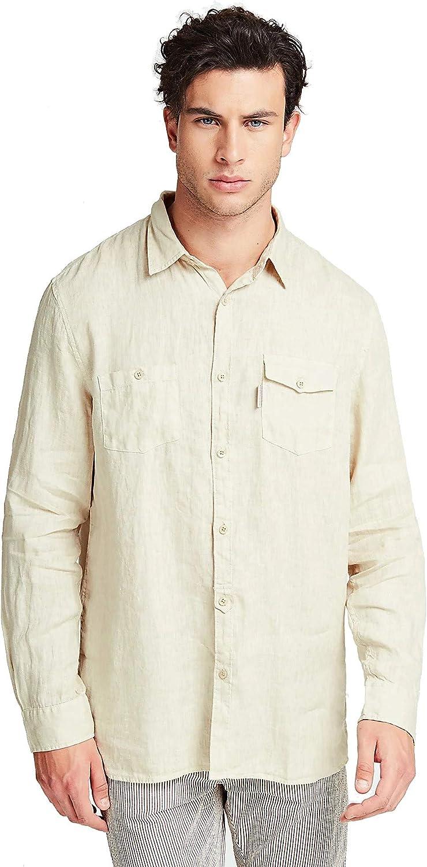 Guess - Camisa de lino para hombre, color beige y azul: Amazon.es: Ropa y accesorios
