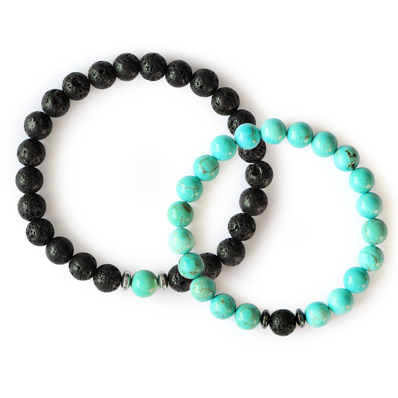Me&Hz Couple Friendship Distant Bracelets Healing Black Onyx Turquoise Stretch Beaded Bracelets Lovers by Me&Hz