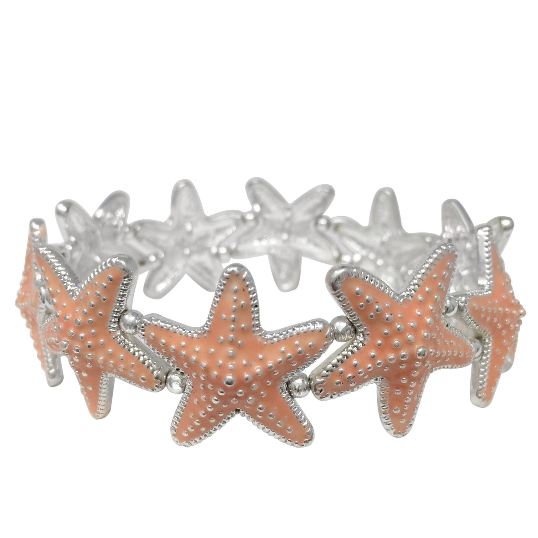 Colored Starfish Sealife Silver Tone Stretch Bracelet - Assorted colors (Peach)