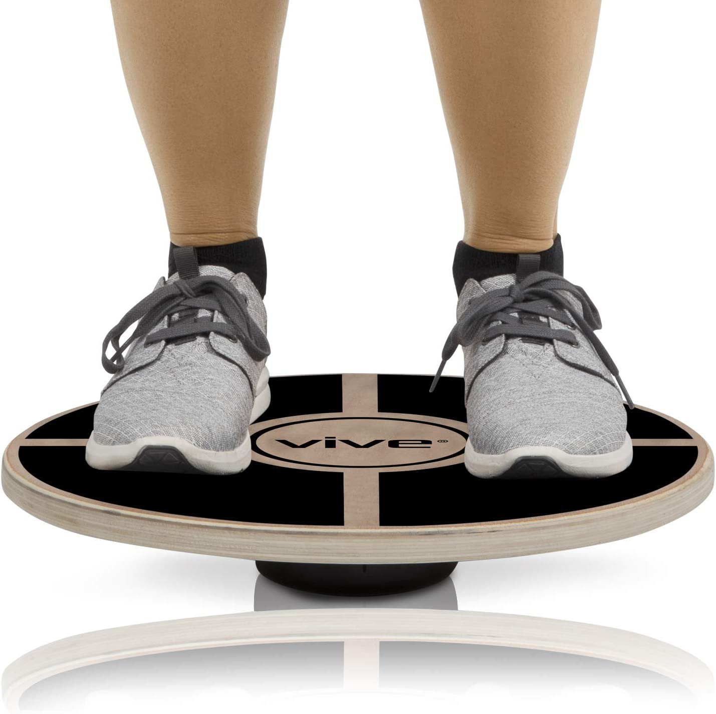 Vive Balance Board – Wooden Self Balancing Wobble Platform – Wood Twist Trainer for Fit Abs, Arms, Legs, Core Tone, Surf, Skateboard, Gymnastics, Ballet, Exercise, Physical Therapy, and Kids